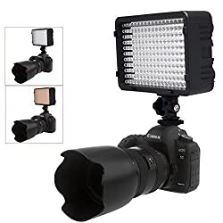 Powerpak Led-168 Metal Hot Shoe Mount LED Dimmable Ultra High Power Panel Digital Camera / Camcorder Video Light, LED Light for Canon, Nikon, Pentax, Panasonic,SONY, Samsung and Olympus Digital SLR Cameras
