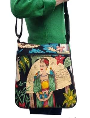 US HANDMADE FASHION Frida in Garden With Parrot Pattern Cross Over body Shoulder bag Style Handbag Purse , Cotton Fabric, CSOP 1511-2