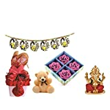 Skylofts Stylish Chocolate Basket With 4pc Diya Set, A Cute Teddy & A Bandanwaar Ganeshji Idol Diwali Combo