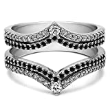 Double Row Chevron Style Anniversary Ring Guard with 1.52 carats of Black And White Cubic Zirconia in Sterling Silver