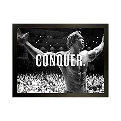 Kumax Arnold Schwarzenegge Body Building Poster Artwork Pictured Canvas Wooden Framed Modern Astract Art Mount For Bar Office Room Wall Print Decor (9.45x12.99inch 12.99x16.93inch 14.96x18.90inch )