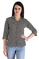 ZAIRE Women's Fashionable Polka Dotted 3/4 Sleeves Semi Crepe Top (2273-3/4TH, Black,L)
