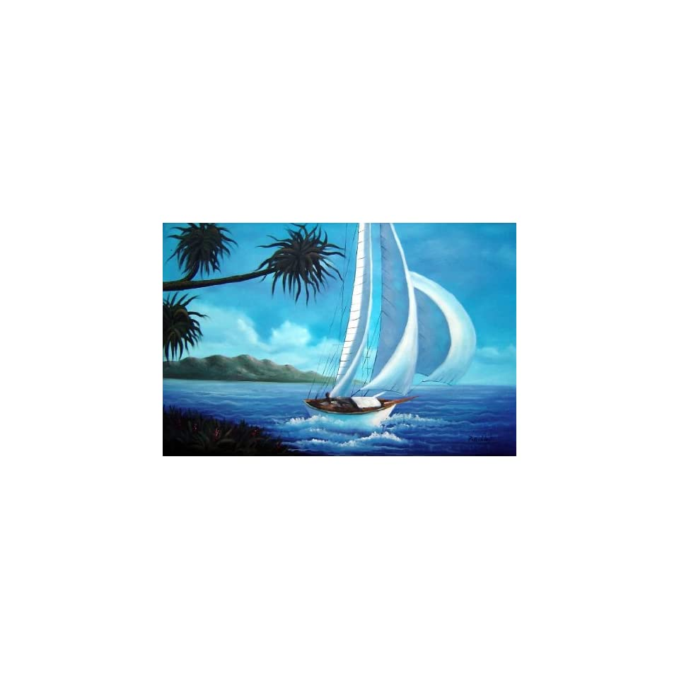 Oil Painting 24x36 Spinnaker Sailing Near Beautiful Coast Boat Ship Boating Naturalism, BeyondDream Art
