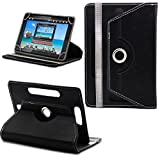360° New Universal Leather Stand Case Cover For Advent Vega Tegra Note 7 Tablet PC - Plain Black ( Designer - Folio - Colourful )