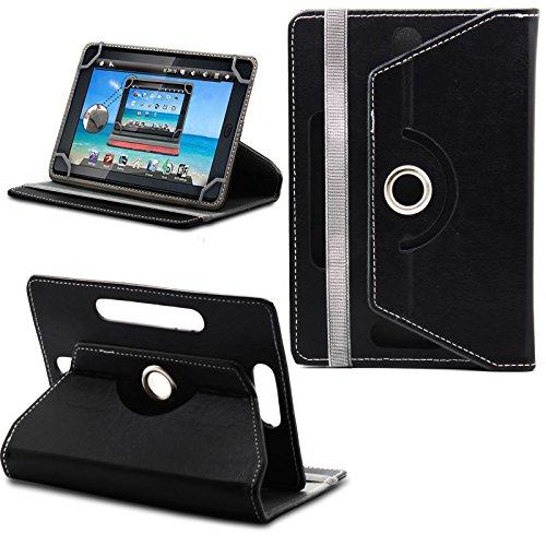 Prestigio MultiPad 8.0 Pro Duo Tablet Neues Design Universelle um 360 Grad drehbare PU-Leder Designer bunte Hülle mit Standfunktion - Cover - Tasche - Schwarz / Plain Black Von Gadget Giant®