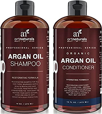 Art Naturals® Organic Moroccan Argan Oil Shampoo and Conditioner Set (2 x 16 Oz) - Sulfate Free - Volumizing & Moisturizing, Gentle on Curly & Color Treated Hair,For Men & Women Infused with Keratin