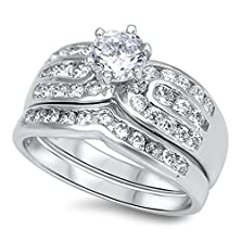 buy Sterling Silver Women'S Flawless Colorless Cubic Zirconia Solitaire Wedding Set Ring (Sizes 5-10) (Ring Size 10)