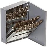 Chicago Latrobe 550 Series Cobalt Steel Jobber Length Drill Bit Set with Metal Case, Gold Oxide Finish, 135 Degree Split Point, Wire Size, 60-piece, #60 - #1
