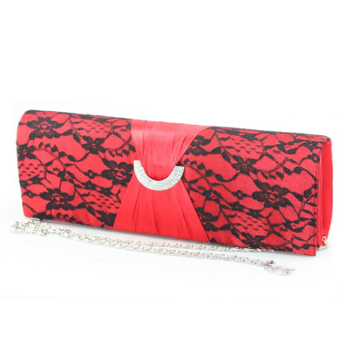 Shoezy Red Evening Dress Lace Pleated Trim Diamantes Clutch Handbag Bags