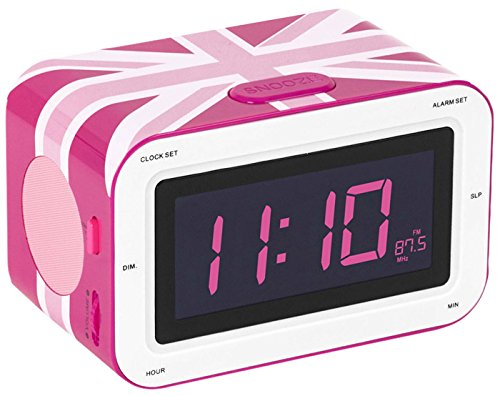Bigben Interactive RR30GBGIRLY Radio Sveglia AM/FM LCD, Motivo UK, Rosa