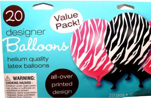 20 Pink Black White Zebra Stripe Balloon - 1