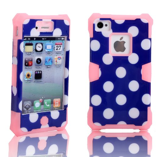 Magicsky Plastic + Silicone Hybrid Polka Dot Pattern Active Glow Case For Apple Iphone 4 4S 4G - 1 Pack - Retail Packaging - Baby Pink/Dark Blue