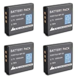 (Pack of 4)Rechargeable Fuji NP-50 NP-50A FNP-50 Replacement Battery Pack for FUJIFILM X20 X10 XF1 FinePix REAL 3D W3 XP100 Digital Camera