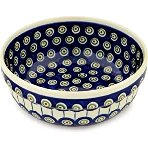 Polmedia Polish Pottery 8-inch Stoneware Bowl H7062A Hand Painted from Boleslawiec Poland