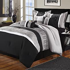Euphoria Black Comforter Bed In A Bag Set 8 Piece