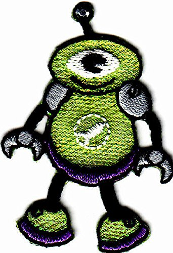 GREEN ALIEN, UFO, FLYING SAUCER/Iron On Embroidered Applique Patch/Outer Space