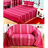 Homescapes - Morocco - Textured Stripe Bedspread, Chair Sofa Throw - 90 x 100 Inches (228 x 254 cm) approx - Pink - 100% Cotton - Handmade - Suitable for use on most 2 or 3 Seater Sofas or Double and King size beds - Machine Washable at Homeby Homescapes