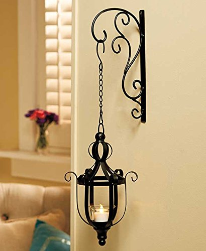 Black Vintage Style Metal Decorative Wrought Iron Hanging LED Candle Lantern Sconce Home Accent Decoration