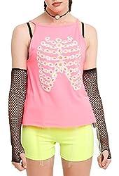 Neon Pink Daisy Rib Cage Girls Tank Top