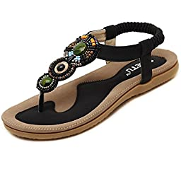 SHFZ Womens Ladies Summer Bohemian National Thong Sandals Flats Flip Flops Beach Shoes (US 7.5, Black)