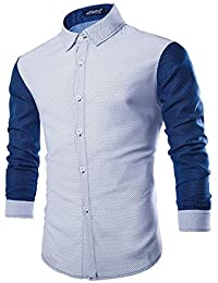 Rrimin Mens Cotton Blend Long Sleeve Shirt Casual Slim Fit Stylish Dress Shirts Tops