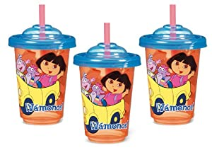Munchkin 3 Pack Re-Usable Twist Tight Straw Cups, Dora the Explorer, 10 Ounce, Colors May Vary