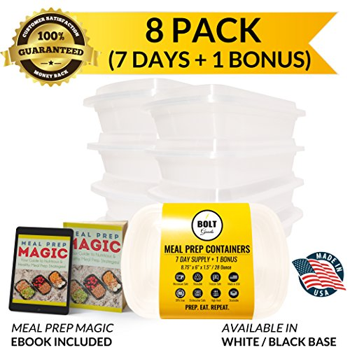 Bolt Goods Meal Prep Containers with Lids (8 Pack, 28 Ounce, White Base) BPA-Free Reusable Microwave Dishwasher Freezer Safe - THE ONLY Crack Leak Resistant Food Storage with BONUS Meal Prepping Ebook (Microwave Cover Boa Free compare prices)