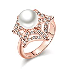 buy Fendina Women'S 18K Rose Gold Plated Pearl Star Ring Cz Crystal Anniversary Eternity Ring Promise Engagement Wedding Bands