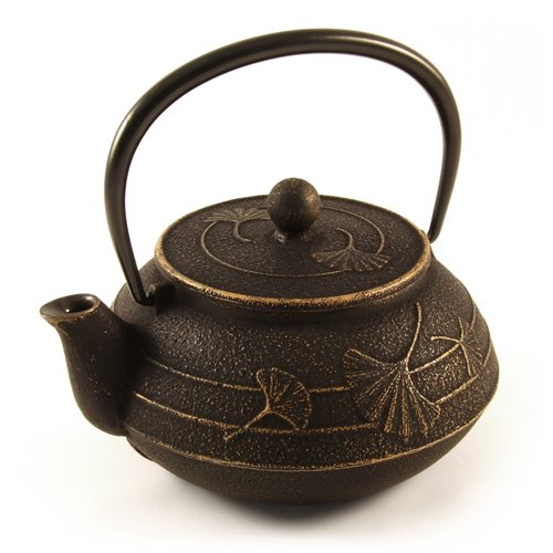 Gingko Cast Iron Tea Pot - in Brown  &  Gold Tetsubin