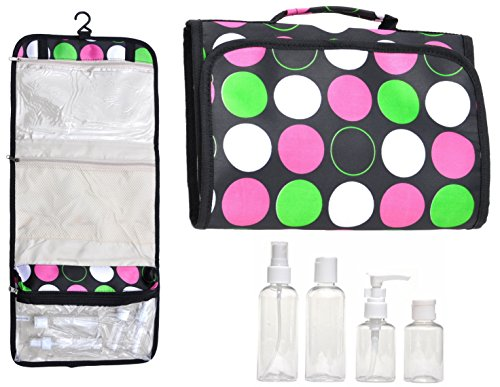 Lg Neon Pink Green Black Hanging Travel Makeup Toiletries Cosmetic Bag Case Organizer 4 Pack Travel Bottle Set Unique Stocking Stuffer Christmas Gift Idea Teen Girl Wife Her (Neon Tutus For Sale)