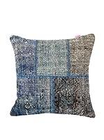 HF LIVING Funda De Cojín Vintage Patchwork (Azul)