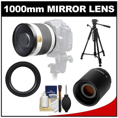 "Samyang 500Mm F/6.3 Mirror Lens (White) With 2X Teleconverter (=1000Mm) + 58"" Tripod Kit For Canon Eos 60D, 7D, 5D Mark Ii Iii, Rebel T3, T3I, T4I Digital Slr Cameras"