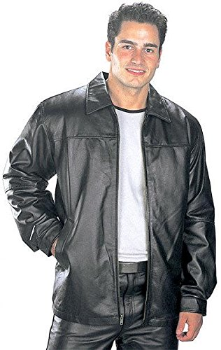 USA Leather Classic Mens Black Leather Hip Length Jacket - Large (Outdoor Leather Jacket compare prices)