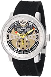 "GV2 by Gevril Men's 4040R ""Powerball"" Stainless Steal Watch with Black Rubber Band"