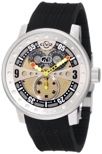 GV2 by Gevril Men's 4040R Powerball Black Rubber Sub-Second Big Date Watch