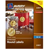 Avery Embossed Round Labels, Matte Gold Foil, 2-Inch Diamter, 96 Labels (22831)