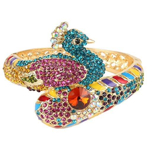 Peacock Bracelet Multicolor Austrian Crystal Gold-Tone N03529-1