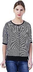 TSAVO Women's Regular Fit Top (1212_BLACK, Black, Medium)