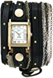 La Mer Collections Women's LMDUOSTUD001 Venice Gold-Tone Watch with Wraparound Black Leather Band