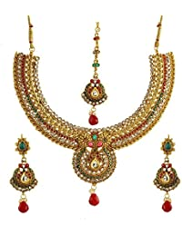 AWWW Women Gold Plated Jewelry Set Red & Green Beads Round Necklace Earrings Mang Tika For Women