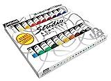 Pébéo 833421 Set Studio + Acrylique Assortiment de 20 Tubes de 20 ml + Brosse...