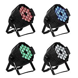 Eyourlife 4pcs LED PAR 18x10w Light 180watt RGBW 64 Quad Par Light DMX512 Disco DJ Stage Lighting,party essential