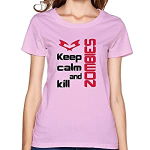 Personalized Gamer Keep Calm Kill Zombie Women Tshirts 100% Cotton