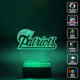 CMLART Handmade New England Patriots Logo 3d Lamp RGB Full Color 44 Key Remote control LED Night Light Best Gift Desk Table Lighting Home Decoration Toys