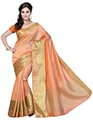 Rani Saahiba Self Woven Art Silk Saree (Orange_SKR1076)