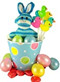 Plush Toy Blue Stripe Sock Monkey with Bunny Ears with Assorted Candy in Pastel Color Happy Easter Basket