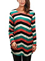 DJT T-Shirt Femme Imprime Manches Longues Pull-Over Blouse tricot Col Rond
