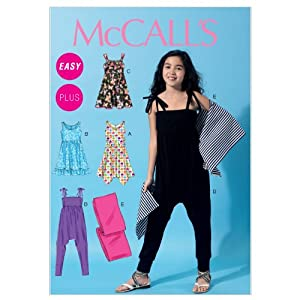 McCall's Patterns M6550 Size PLS 10.5-12.5-14.5-16.5 Girls'/ Girls' Plus Dresses, Jumpsuit and Wrap, Pack of 1, White