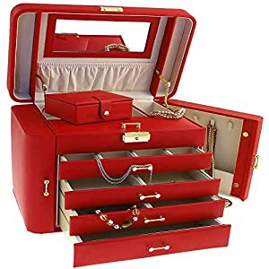 Extra Large Empress Jewellery Box / Jewel Case in Red Bonded Leather by Mele & Co