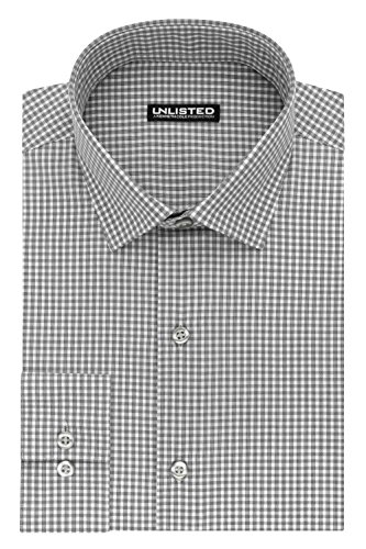 Unlisted by Kenneth Cole Reaction Men's Slim Fit Check Spread Collar Dress Shirt